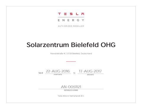 AN-0051121 Solarzentrum Bielefeld OHG Authorized Reseller Zertifikat